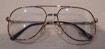 Vintage Parade 1430 Amber 59/16 Dbl Bridge Men's Metal Eyeglass Frame NOS #237