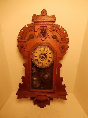 Vintage Antique Seth Thomas 8 Day Half Hour Cathedral Gong Wall Clock & Works
