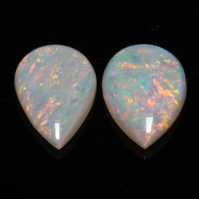 1.41tcw Very well matched pair of Australian Opals with yellow / green flash.