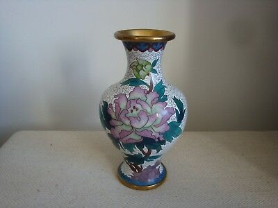 Chinese Cloissone Vase White Background 18cm