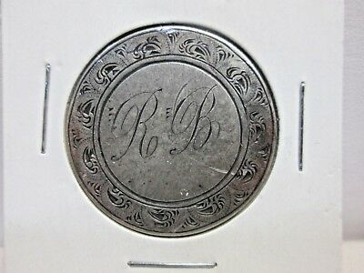 1853 Us Seated Liberty Half Dollar Love Token Letters R.b.