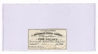 Authentic Confederate $4 Coupon from a $100 bond 1861