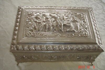 Antique  Burmese Silver Cigar Box