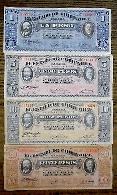 1915 1, 5, 10, 20 Peso Notes Mexican Revolution Chihuahua Notes