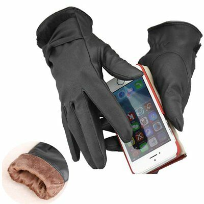 Womens Ladys Thermal 100% Leather Touch Screen Driving Gloves Mitten Winter Bow