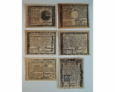 6 Spanish Milled Dollars Copy Bill Shillings 1780's Colonial Currency