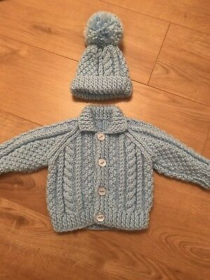 Baby Blue Boys Hand Knitted Cardigan & Matching Hat Set, brand new