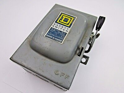 Square D Fusible 3 Phase Heavy Duty Safety Switch, D-211-N 30 Amp 120 240 Volts