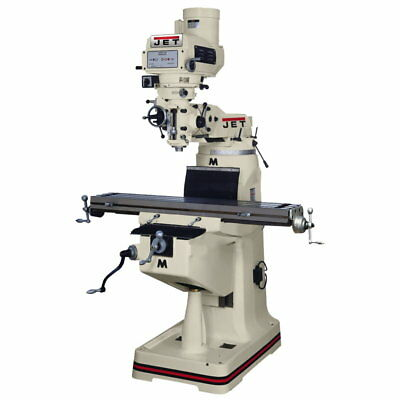 """Jet 690265 JTM-4VS Mill, ACU-RITE VUE DRO, X-Axis Powerfeed and 6"""" Riser Block"""