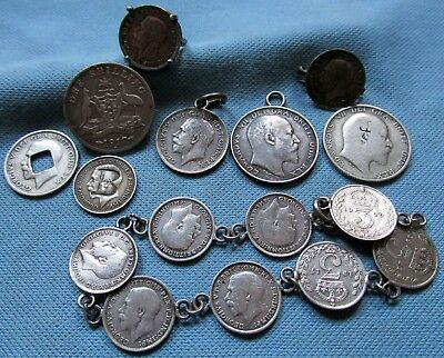 Great Britain Altered Silver Coin Lot -Vintage Jewelry King Edward VII George V