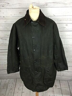Mens Barbour 'Border' Wax Jacket - Large C42 - Green - Great Condition