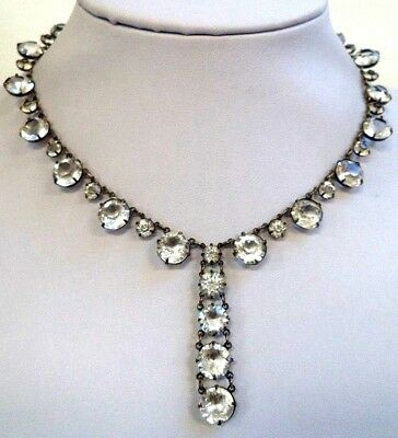 """Vintage Estate Tested Sterling Silver Glass Window Pane 15"""" Necklace!!! G6651X"""