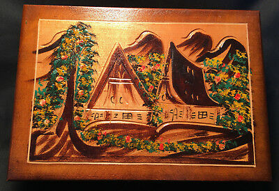 Collectible Hand Painted Wood Wooden Box With Oriental/Asian House/Hut Temple