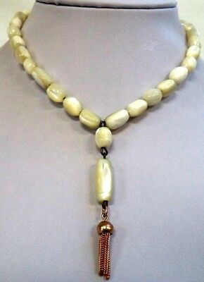 """Stunning Antique Estate Mother Of Pearl Mop Beaded 14"""" Necklace!!! G6652F"""
