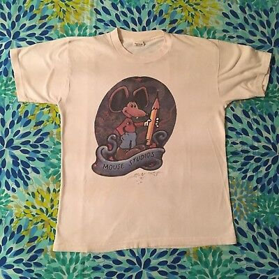 Vintage Grateful Dead 1980's Mouse Studios T Shirt Stanley Mouse Hand Signed