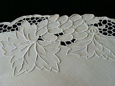 WOWIE 13pc Vtg MADEIRA Linen Placemats Dessert Tea INCREDIBLE Handwork PRISTINE