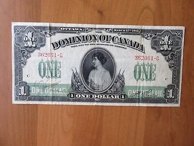 1917 DOMINION OF CANADA $1 ONE DOLLAR DC-25a BOVILLE NO SEAL VF/EF