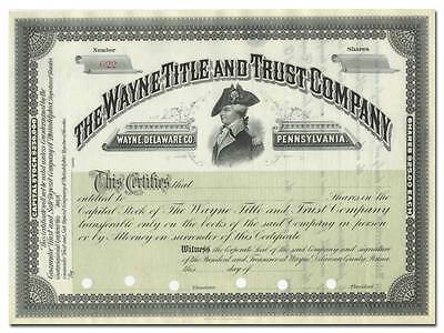 """Wayne Title and Trust Company Stock Certificate - General """"Mad Anthony"""" Wayne"""