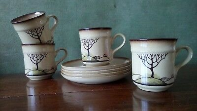 4 Denby Savoy coffee / espresso cups and saucers