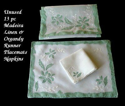 PRISTINE UNUSED Vtg 13pc MADEIRA Linen Organdy Placemats Napkins Runner Hand Emb