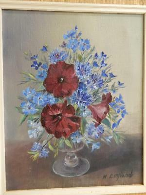 old PAINTING oil Flowers SIGNED Muriel England FRSA