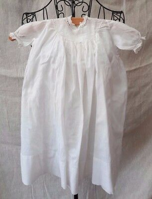 1930 Vintage Long White Cotton Baby Christening Gown Size 3 Years