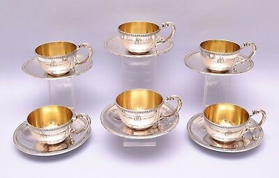 6 PCS SOLID SILVER COFFEE CUPS & SAUCER. 728 grams / 25.67 ounce