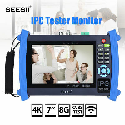 "SEESII 4K 7"" IPC Camera Monitor Tester CVBS Test PTZ Control HDMI-IN WIFI 8GB"