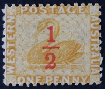 1884- Western Australia 1/2 d surch on 1 d Yellow Ochre Swan Stamp Perf 12 Mint