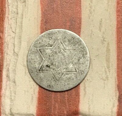 1854-1858 Type 2 3C Three Cent Silver Piece Vintage US Coin #FH96