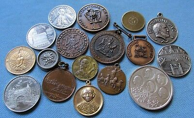 Lot of 17 Vintage to Modern World Commemorative Medals Tokens Coins Clearance
