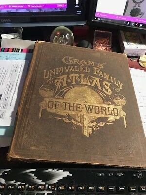 1884 Cram's Unrivaled Family Atlas of the World Large Antique Primitive Brown