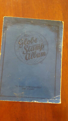 Old The Globe Stamp Album with over 120 stamps