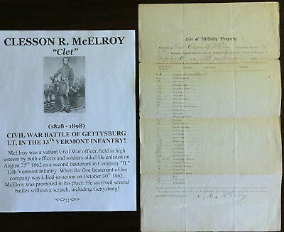 CIVIL WAR BATTLE GETTYSBURG LIEUT 13Th VERMONT INFANTRY McELROY DOCUMENT SIGNED!