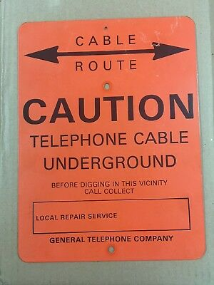 General Telephone Company Underground Cable Caution Metal Sign 12 x 9 inches