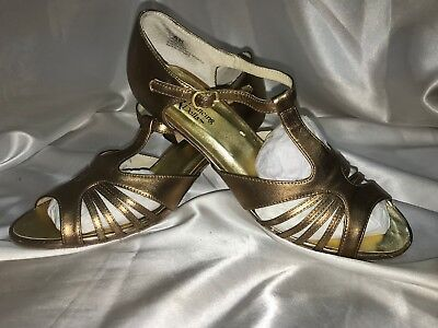 Dancing Dolls Bronze Women Leather Upper Dance Shoes Sandals Soft Sole Size 8N