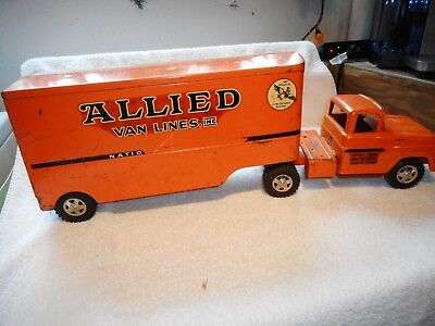 Vintage 1960's Allied Van Lines Metal Toy Truck Lots of Wear and Scratches!