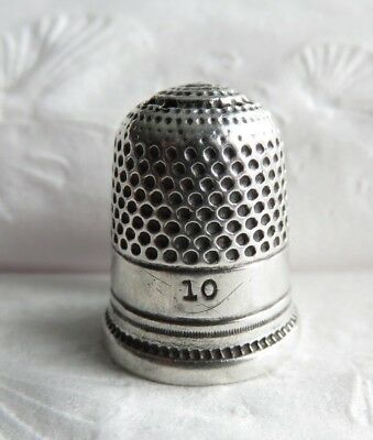 Antique Sterling Silver Thimble Sz 10 Holes On Top