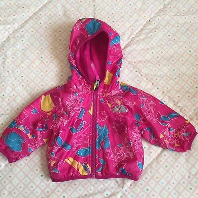 The North Face girls reversible infant/baby jacket size 0-3 months animal print