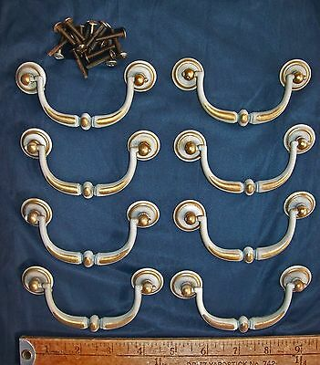 12 Vintage Bail Drawer Pulls Lot in a Charming Grayish & Brass Color & Screws