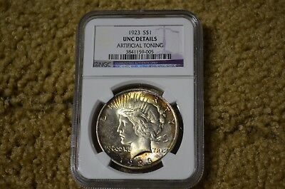 1923 Uncirculated & Toned Peace Dollar NGC UNC Details