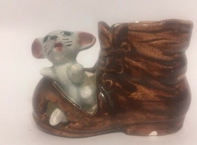 Vintage Mouse in a Boot Ceramic Figurine C1960 Toothpick Holder or Pin Cushion