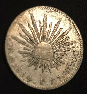 1854 Mexico First Republic 2 Reales KM 374.8 VERY NICE EXAMPLE