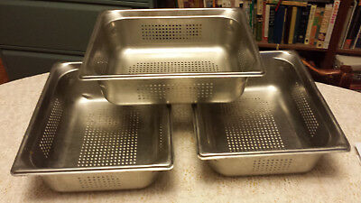 Lot of 3 Half Size 4 in Deep Perforated Steam Table Pan Vollrath 90243