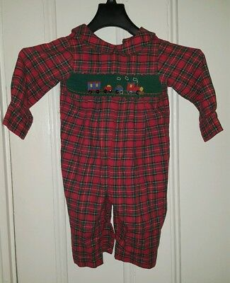House of Hatten Red Plaid Romper size 18 months Green Smocking w Train