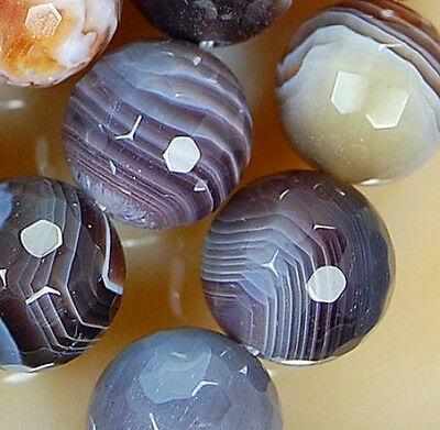 """12mm Faceted Natural Persian Gulf Agate Gemstone Round Spacer Loose Beads 15.5"""""""