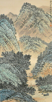 Vintage Chinese Watercolor MOUNTAIN LANDSCAPE Wall Hanging Scroll Painting