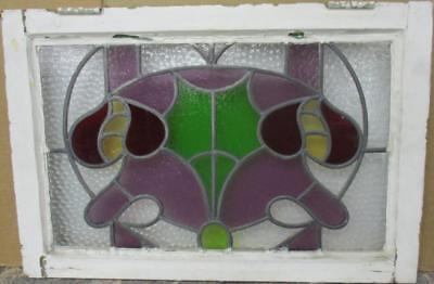 "MID SIZED OLD ENGLISH LEADED STAINED GLASS WINDOW Gorgeous Abstract 25"" x 16.75"""