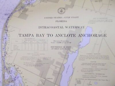 Vintage Estate Find Nautical Sailing Map Tampa Bay To Anclote Anchorage