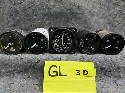 Lot of 5 Old Airplane Guages GL3D
